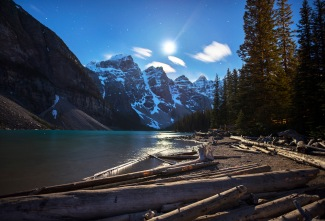 Moonlight on Lake Moraine, Canada