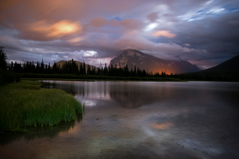 Vermillon Lake at midnight in Banff, Canada