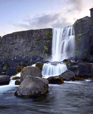 Oxararfoss waterfall, Thingvellir, National Park in Iceland