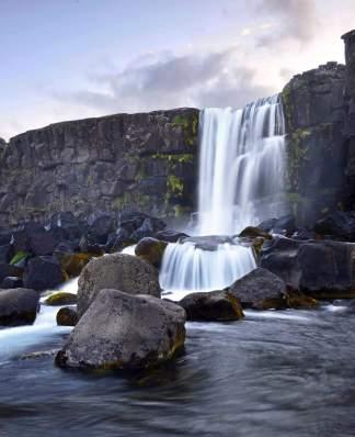 Oxararfoss waterfall, Thingvellir, National Park in Iceland